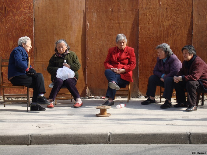 Elderly ladies socialising in Shanghai