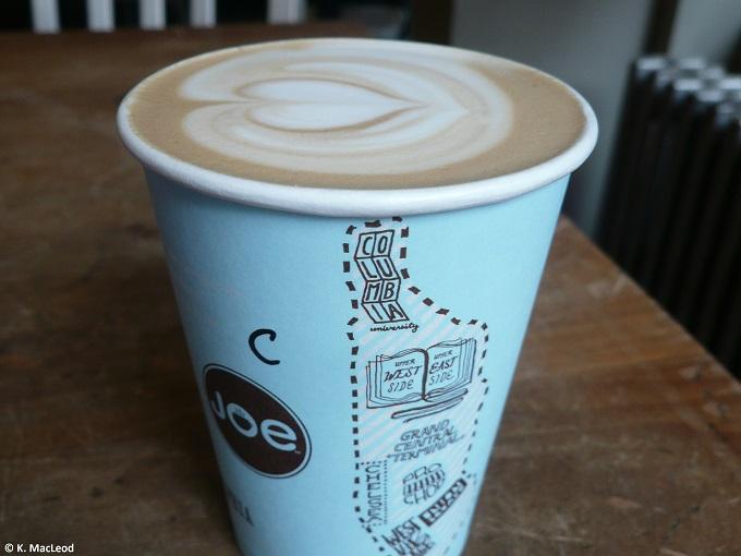 Latte art at Joe Coffee, West Village, NYC