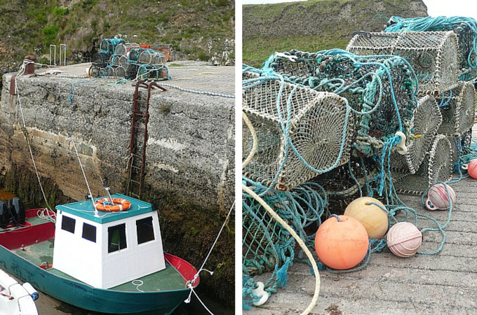 Boats and fishing nets at the Port of Ness