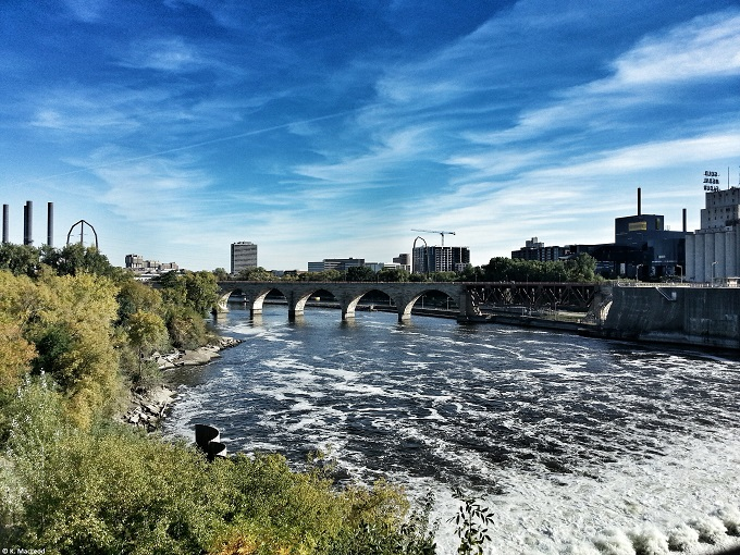 St Anthony Falls on a sunny day, Minneapolis