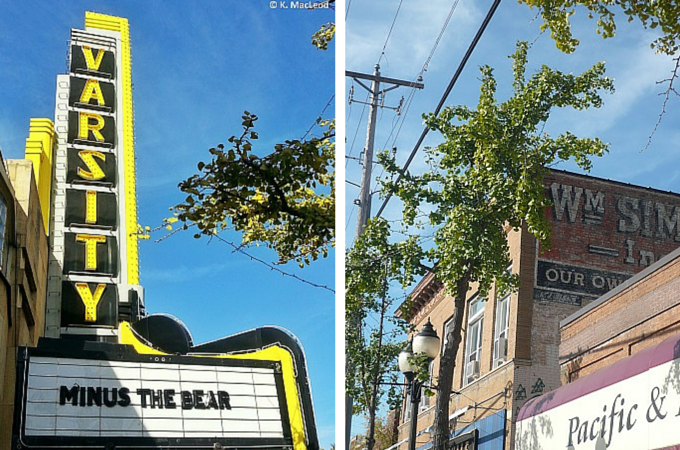 Varsity Theatre and streets of Dinkytown, Minneapolis