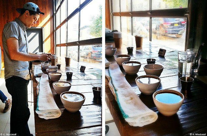 Coffee cupping at Blue Bottle Coffee, Berry Street