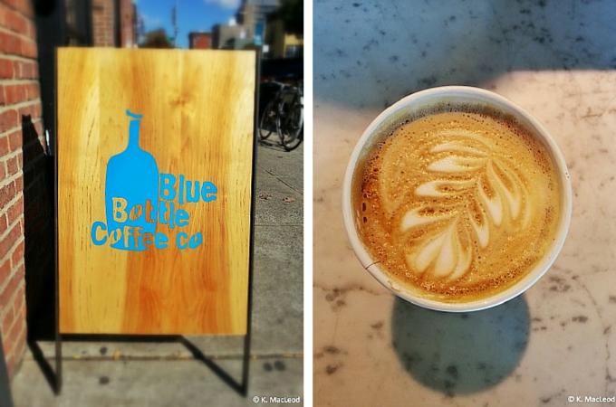 Latte art at Blue Bottle Coffee in Brooklyn