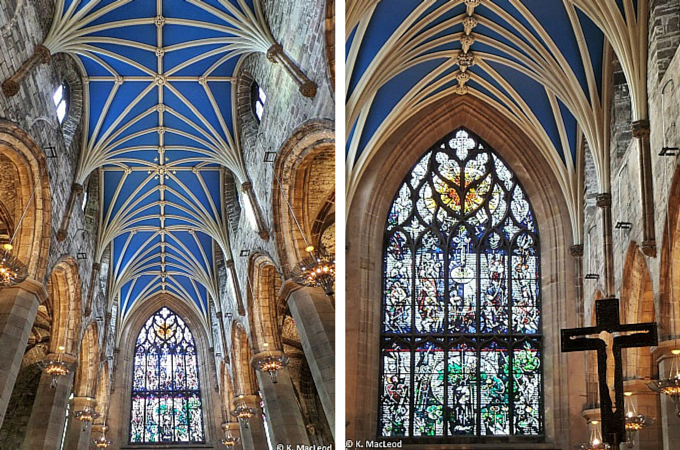 Blue ceiling and stained glass windows at St Giles Cathedral