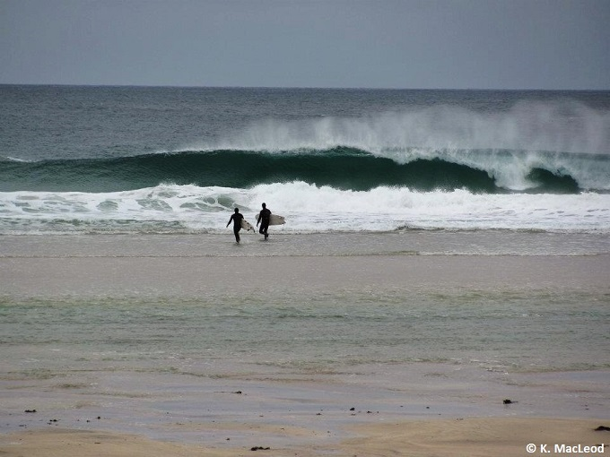 Surfing on Dal Mor, Isle of Lewis