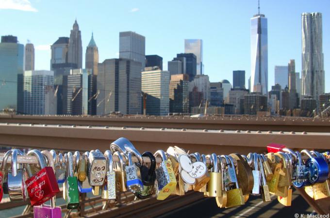 New York skyline from the Brooklyn Bridge