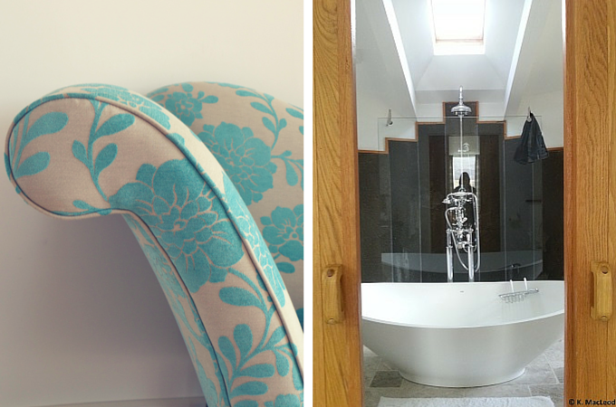 Bathroom and chair details at The Broch