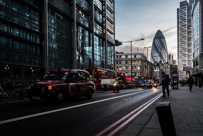 London road at night