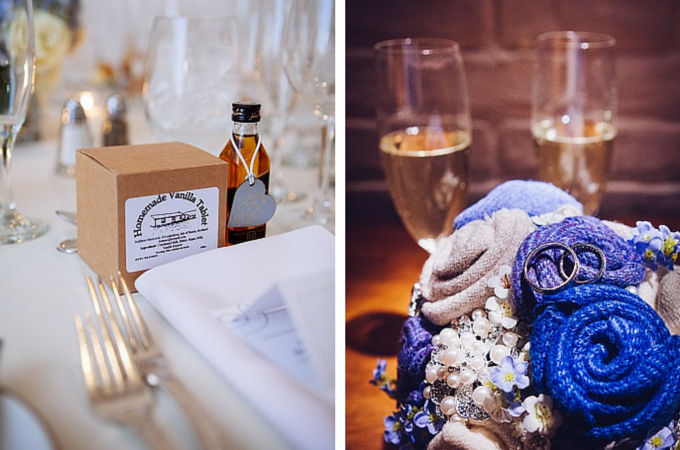 Luskentyre tablet and Tiger Textiles bridal bouquet
