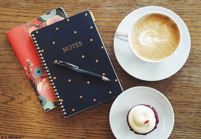 Notebooks and coffee at Ispresso at Park