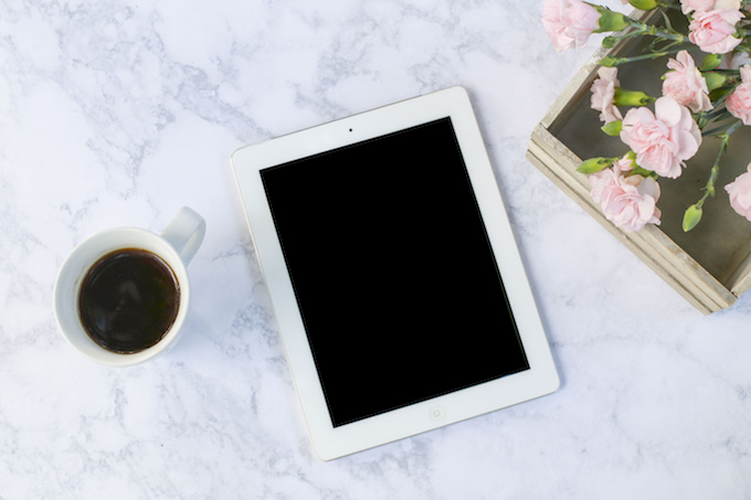 iPad and flowers