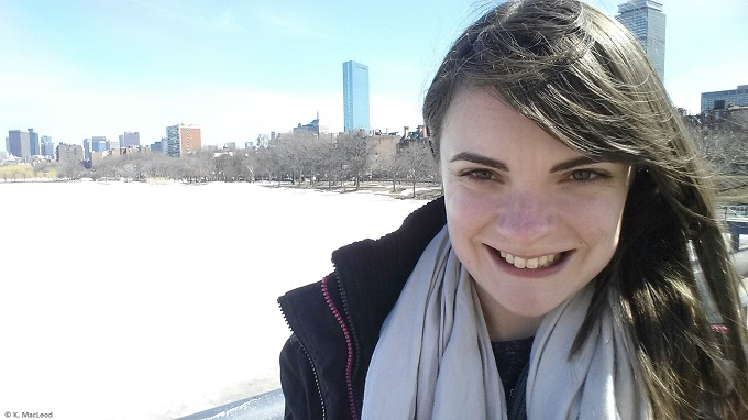 Selfie by the frozen Charles River in Boston - Copy