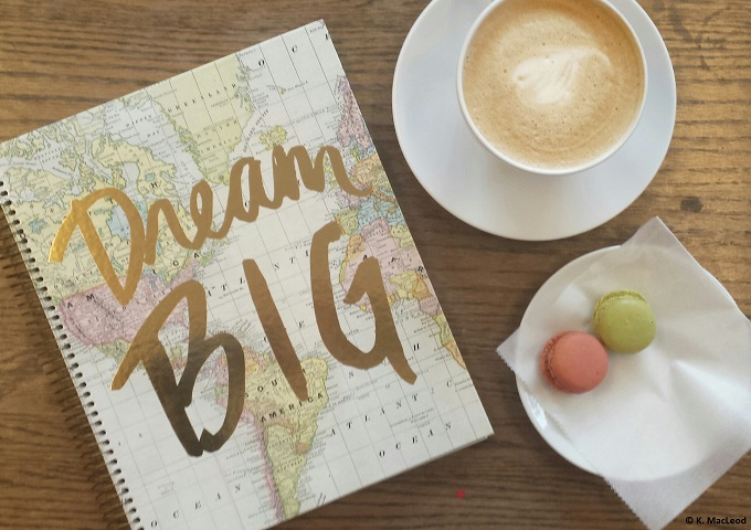 Travel blogging at a coffee shop