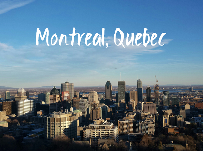 Montreal skyline with headline text