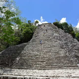 Climbing an Ancient Mayan Temple in Coba, Mexico