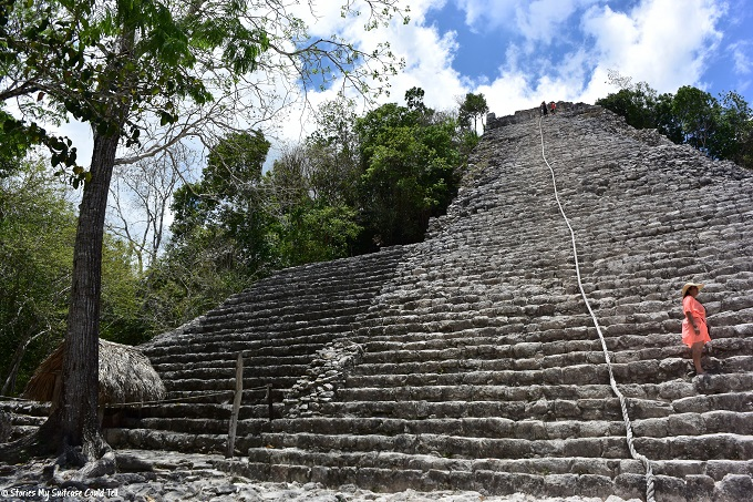 Preparing to climb the Mayan temple at Coba