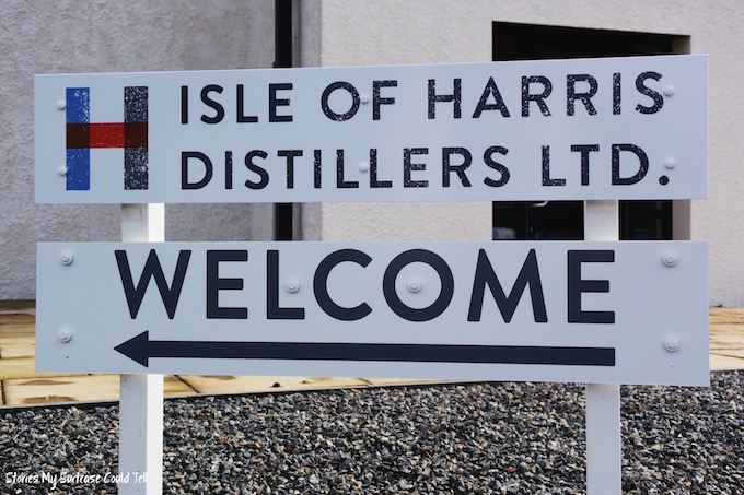 Harris Distillery Welcome Sign