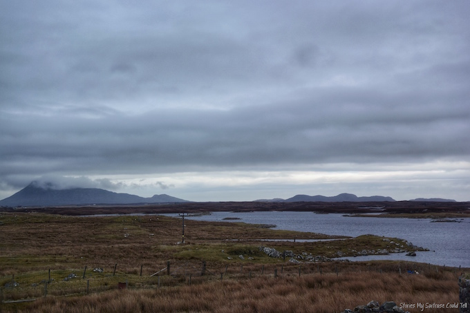 North Uist hills under clouds