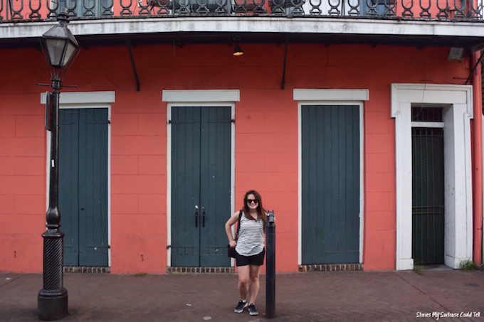 Pink building French Quarter New Orleans