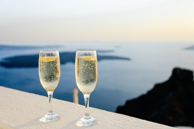 Champagne glasses on balcony