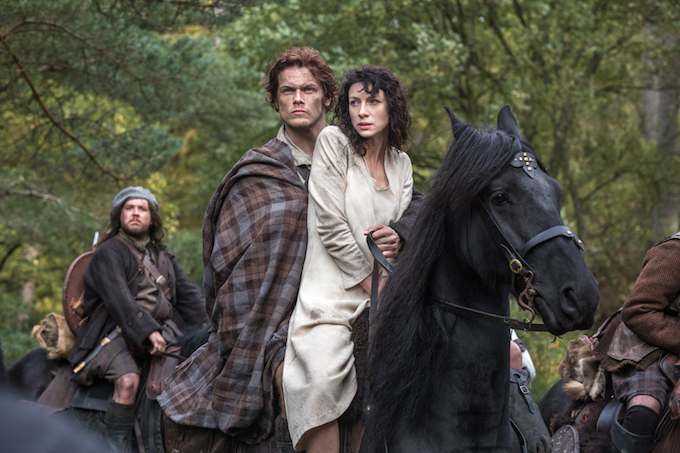 Outlander Claire and Jamie on horseback