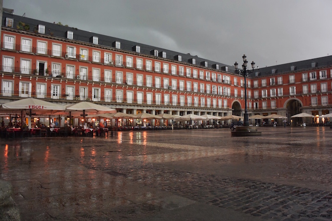 Plaza Mayor in the rain